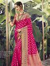 image of Rani Color Wedding Wear Art Silk Fabric Weaving Work Saree