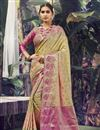image of Reception Wear Beige Color Weaving Work Saree