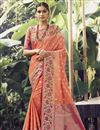 image of Reception Wear Peach Color Art Silk Fabric Weaving Work Saree