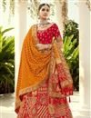 image of Red Color Silk Fabric Reception Wear Lehenga Choli