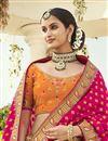 photo of Silk Fabric Orange Color Wedding Wear 3 Piece Lehenga Choli