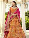 image of Silk Fabric Orange Color Wedding Wear 3 Piece Lehenga Choli