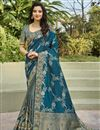 image of Function Wear Silk Fabric Classy Weaving Work Saree In Teal Color