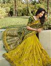 photo of Silk Fabric Classy Function Wear Dark Green Color Weaving Work Saree