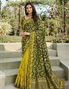 image of Silk Fabric Classy Function Wear Dark Green Color Weaving Work Saree