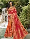 image of Function Wear Classy Silk Fabric Red Color Weaving Work Saree