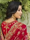 photo of Silk Fabric Classy Function Wear Red Color Weaving Work Saree