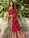 image of Silk Fabric Classy Function Wear Red Color Weaving Work Saree
