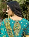 photo of Function Wear Silk Fabric Classy Cyan Color Weaving Work Saree