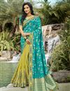 image of Function Wear Silk Fabric Classy Cyan Color Weaving Work Saree