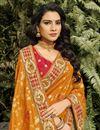 photo of Function Wear Orange Color Classy Weaving Work Saree In Silk Fabric