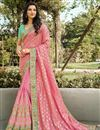 image of Function Wear Pink Color Classy Weaving Work Saree In Silk Fabric