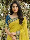 photo of Silk Fabric Function Wear Classy Yellow Color Weaving Work Saree