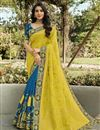 image of Yellow Color Function Wear Silk Fabric Classy Weaving Work Saree