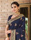 photo of Art Silk Fabric Navy Blue Color Weaving Work Function Wear Trendy Saree
