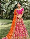 image of Silk Fabric Function Wear Rani Color Weaving Work Lehenga