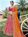image of Rani Color Function Wear Weaving Work Silk Fabric Lehenga