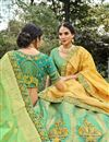 photo of Sea Green Color Function Wear Weaving Work Lehenga In Silk Fabric