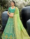 image of Sea Green Color Function Wear Weaving Work Lehenga In Silk Fabric