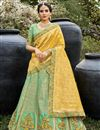 image of Sea Green Color Function Wear Silk Fabric Weaving Work Lehenga Choli