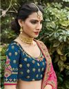 photo of Teal Color Function Wear Silk Fabric Weaving Work Lehenga
