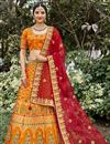 image of Function Wear Silk Fabric Weaving Work Orange Color Lehenga Choli