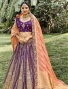 image of Silk Fabric Function Wear Weaving Work Purple Color Lehenga