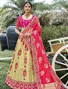 image of Function Wear Beige Color Silk Fabric Weaving Work Lehenga Choli