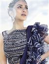 photo of Fancy Fabric Trendy Navy Blue Function Wear Ruffle Frill Saree