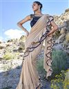 image of Eid Special Beige Trendy Function Wear Fancy Fabric Ruffle Frill Saree