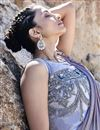 photo of Fancy Fabric Trendy Grey Sangeet Function Wear Ruffle Frill Saree