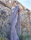 image of Fancy Fabric Trendy Grey Sangeet Function Wear Ruffle Frill Saree