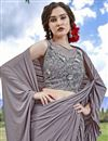photo of Eid Special Fancy Fabric Trendy Function Wear Grey Ruffle Frill Saree