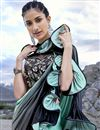 photo of Eid Special Trendy Fancy Fabric Function Wear Sea Green Ruffle Frill Saree