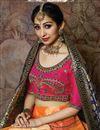 photo of Weaving Work Wedding Wear Lehenga Choli In Art Silk Fabric Orange With Fancy Dupatta