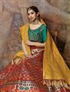 photo of Weaving Work On Wedding Wear Bridal Lehenga In Art Silk Fabric Red With Fancy Dupatta
