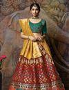 image of Weaving Work On Wedding Wear Bridal Lehenga In Art Silk Fabric Red With Fancy Dupatta