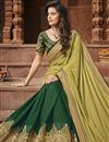 photo of Party Wear Fancy Fabric Border Work Saree In Khaki Color