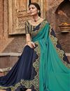 photo of Cyan Color Fancy Fabric Function Wear Saree