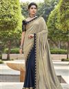 image of Grey Color Traditional Embroidery Work Saree In Fancy Fabric