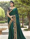 image of Dark Green Color Fancy Fabric Function Wear Embroidery Work Saree