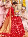 photo of Weaving Work On Red Color Silk Fabric Party Wear Saree With Amazing Blouse