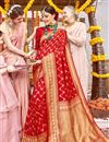 image of Weaving Work On Red Color Silk Fabric Party Wear Saree With Amazing Blouse