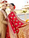 photo of Red Color Silk Fabric Function Wear Saree With Weaving Work