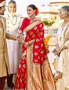 image of Red Color Silk Fabric Function Wear Saree With Weaving Work