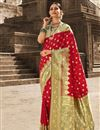 image of Art Silk Fabric Puja Wear Red Color Weaving Work Saree