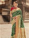 image of Art Silk Fabric Festive Wear Green Weaving Work Saree