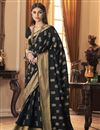 image of Party Style Trendy Art Silk Fabric Saree In Black Color