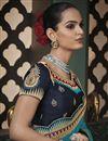 photo of Fancy Art Silk Fabric Sky Blue Color Border Work Saree