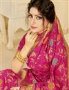 photo of Art Silk Fabric Festive Wear Chic Rani Color Weaving Work Saree